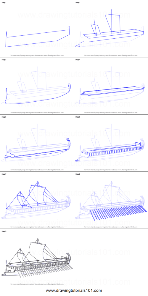 small resolution of step by step drawing tutorial on how to draw greek trireme ship