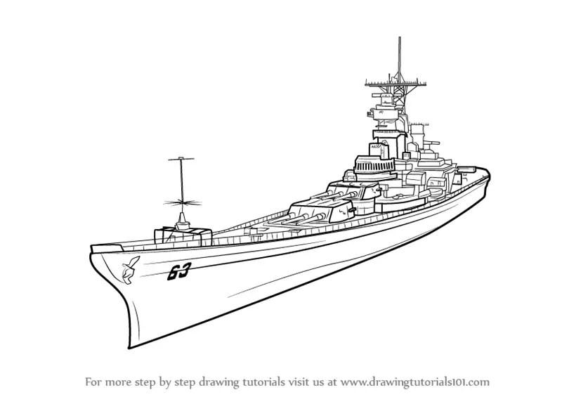 Learn How to Draw USS Missouri aka Big Mo (Battleships