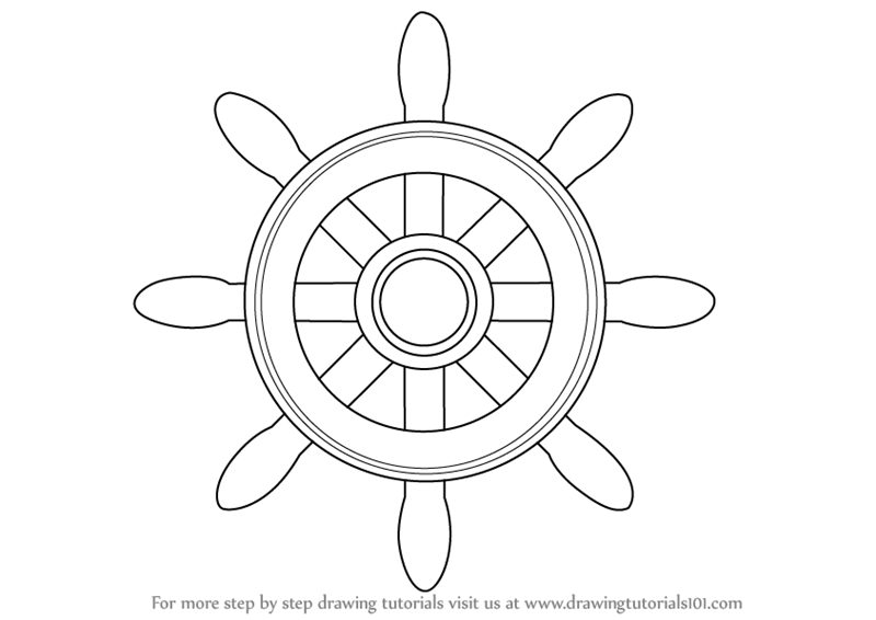 Learn How to Draw a Boat Wheel (Boats and Ships) Step by