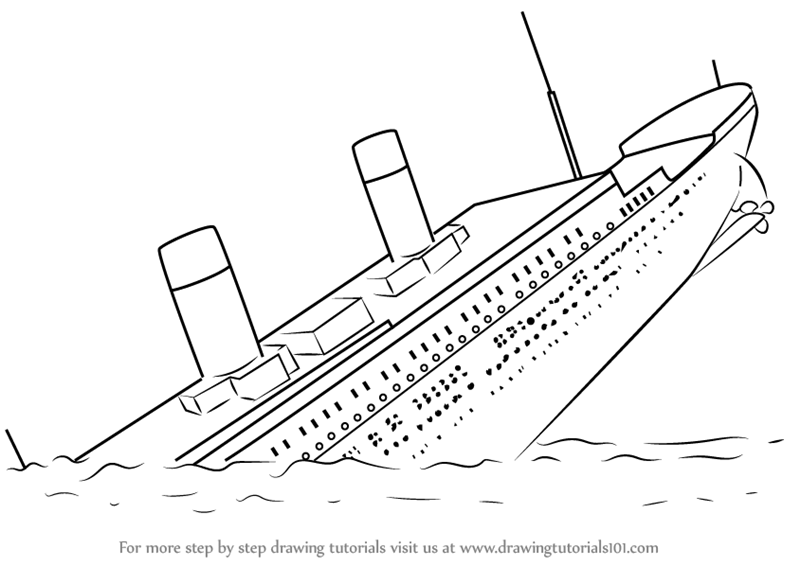 Learn How to Draw Titanic Sinking (Boats and Ships) Step