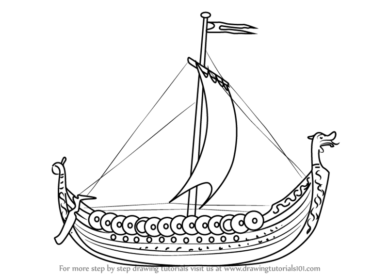 Learn How to Draw a Viking Ship (Boats and Ships) Step by