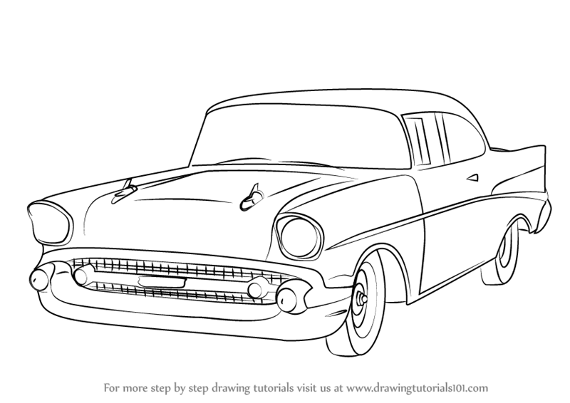 Learn How to Draw a 1957 Chevy Bel Air (Cars) Step by Step