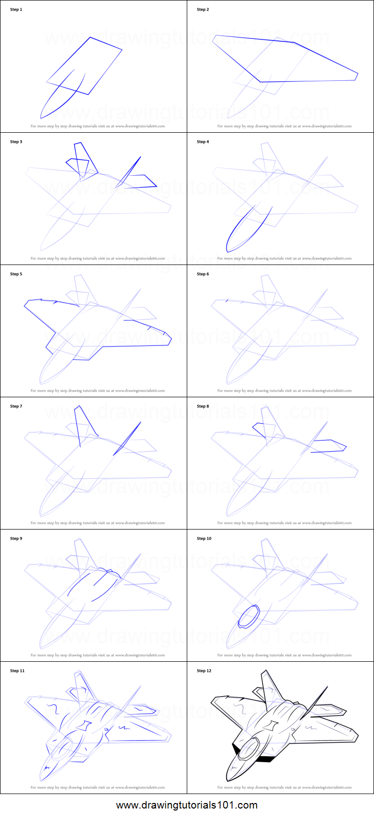 medium resolution of step by step drawing tutorial on how to draw lockheed martin f 22 raptor