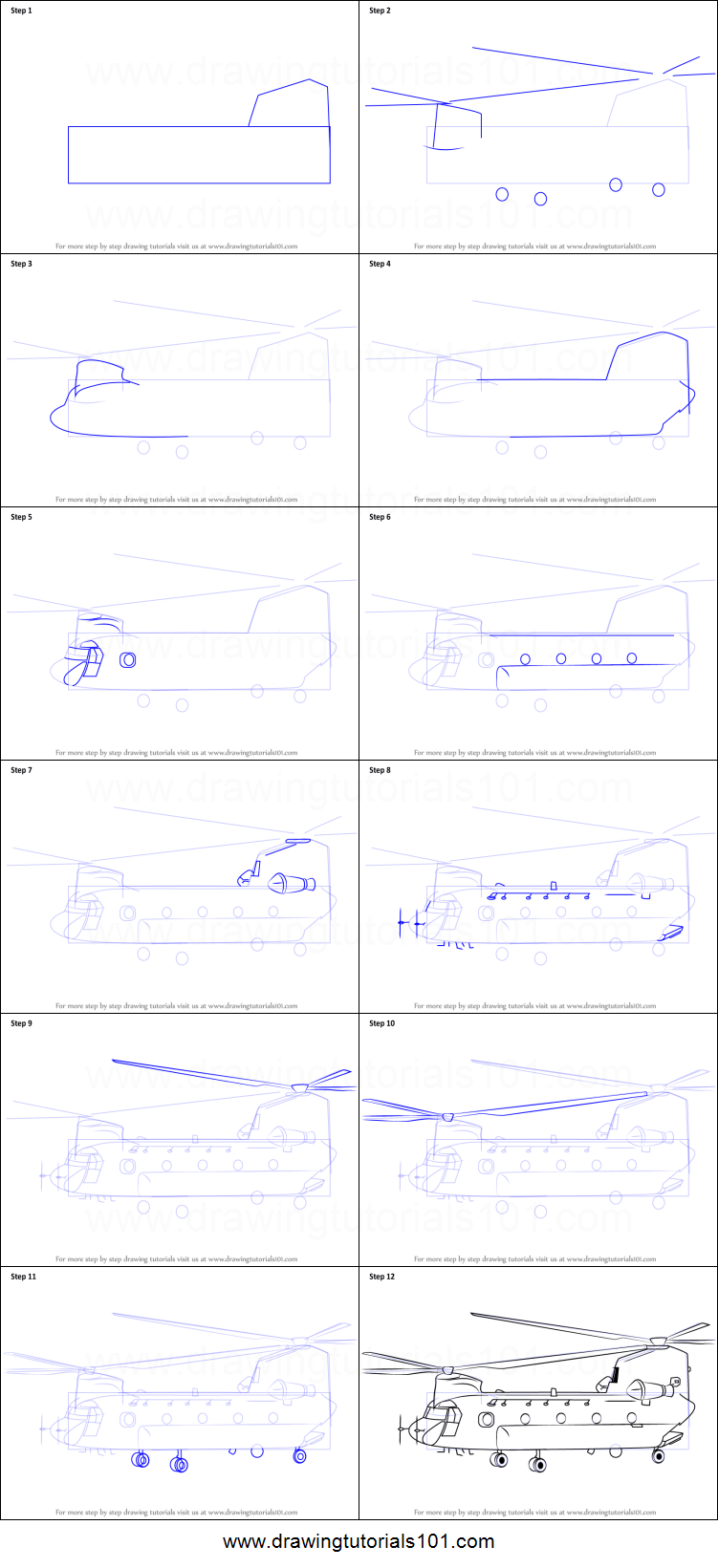 medium resolution of step by step drawing tutorial on how to draw a boeing ch 47 chinook helicopter