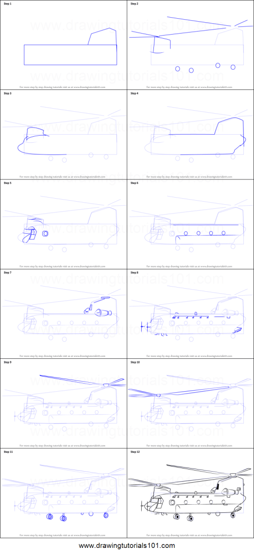 small resolution of step by step drawing tutorial on how to draw a boeing ch 47 chinook helicopter