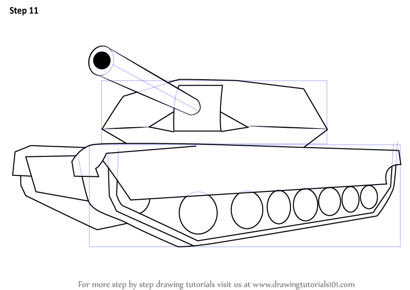 Step by Step How to Draw a Simple Tank