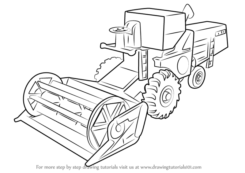 Learn How to Draw Combine Harvester (Other) Step by Step