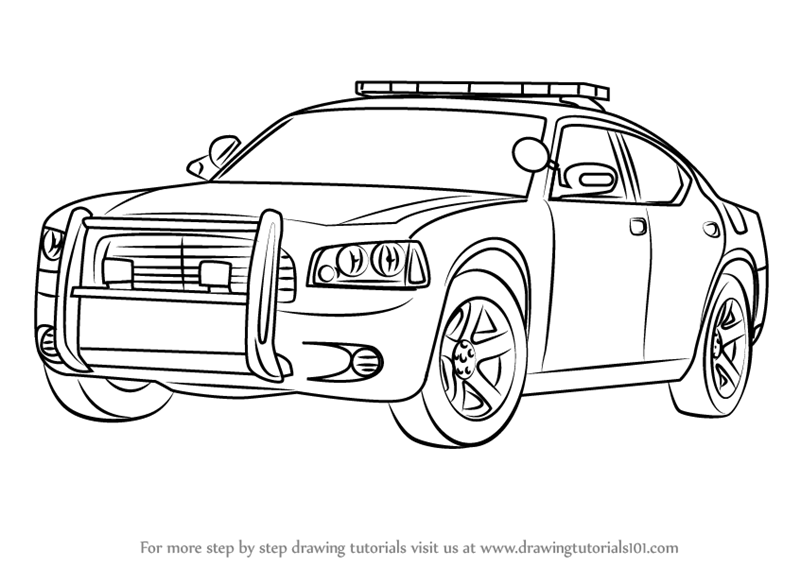 Learn How to Draw a Dodge Police Car (Police) Step by Step