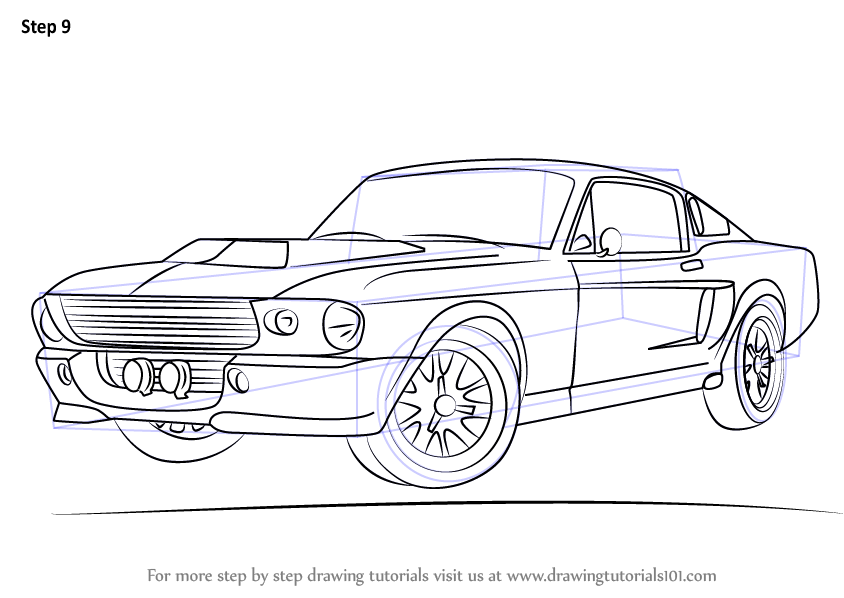 Learn How to Draw a 1968 Mustang (Sports Cars) Step by