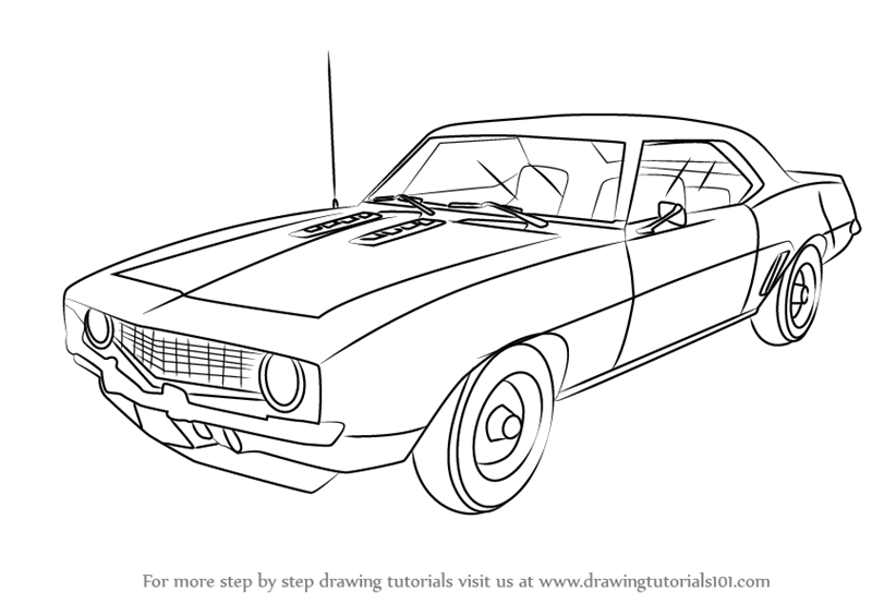 Learn How to Draw a 1969 Camaro (Sports Cars) Step by Step