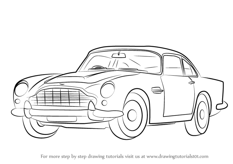 Step by Step How to Draw Aston Martin DB5 aka James Bond