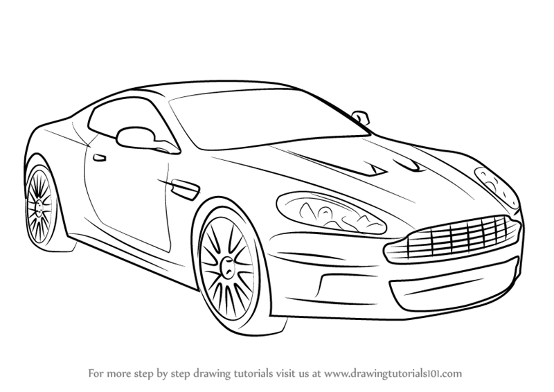 Learn How to Draw Aston Martin DB9 (Sports Cars) Step by