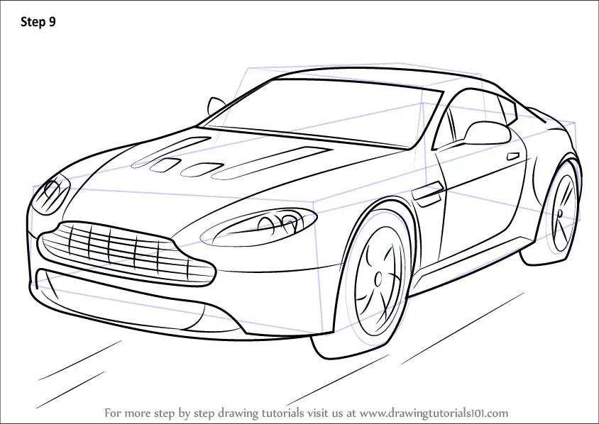 Learn How to Draw Aston Martin V12 Vantage (Sports Cars