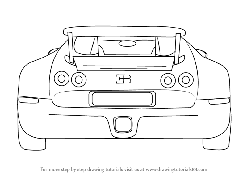 Step by Step How to Draw a Bugatti Veyron Rear
