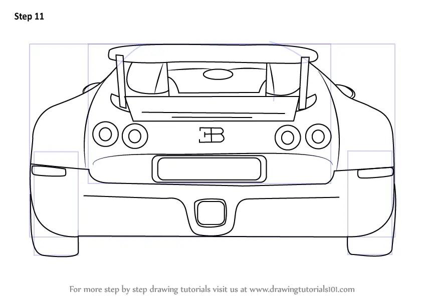 Step by Step How to Draw a Bugatti Veyron Rear