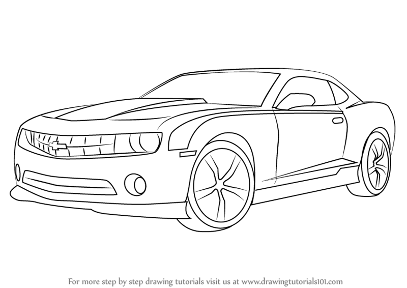 Learn How to Draw a Chevrolet Camaro (Sports Cars) Step by