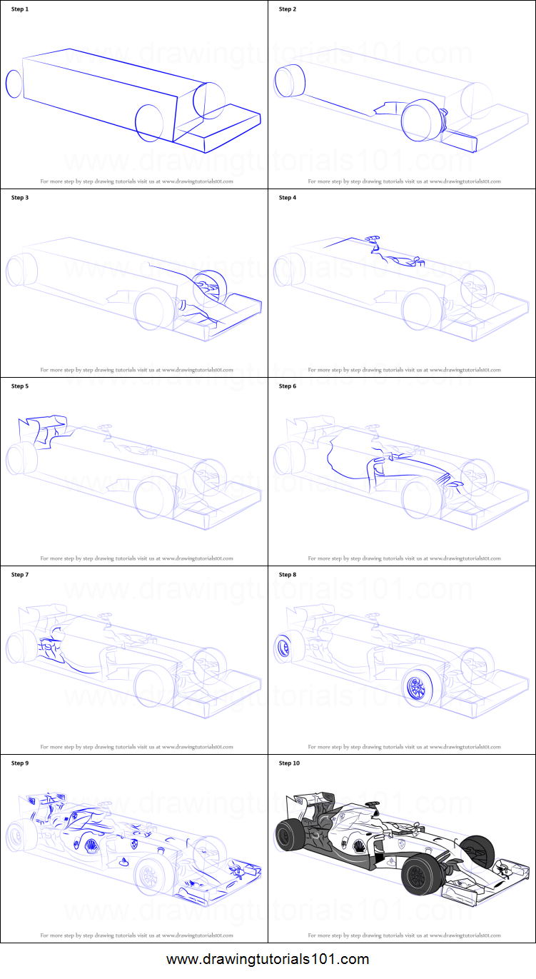hight resolution of step by step drawing tutorial on how to draw f1 car