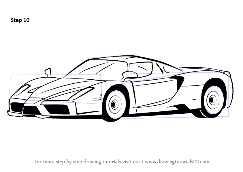 Learn How to Draw a Ferrari Enzo (Sports Cars) Step by