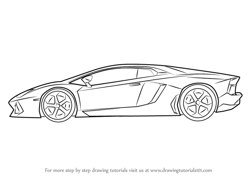 Step by Step How to Draw Lamborghini Centenario Side View
