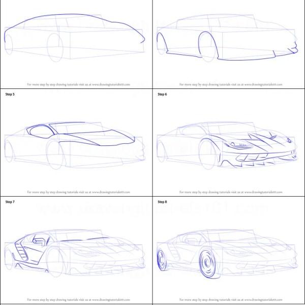 Cara Menggambar Mobil Lamborghini keren