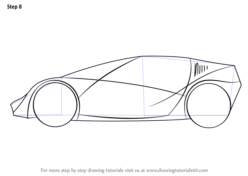 Learn How to Draw a Sports Car for Kids (Sports Cars) Step