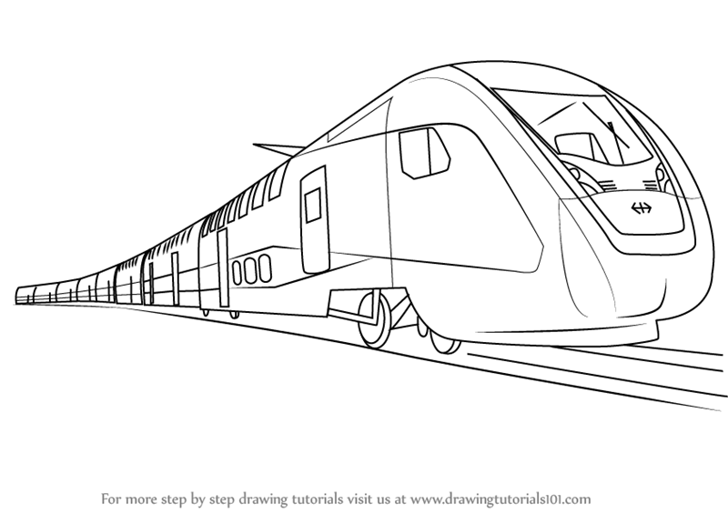 Learn How to Draw an Electric Train (Trains) Step by Step