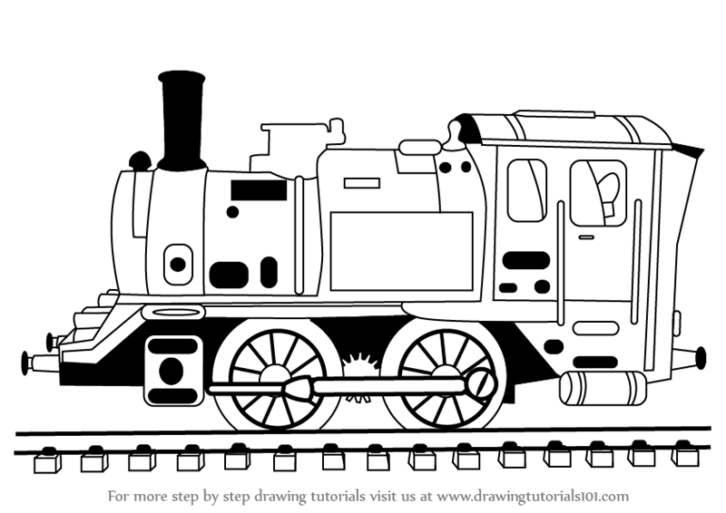 Learn How to Draw Locomotive Steam Engine (Trains) Step by