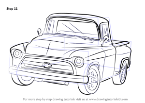 Learn How to Draw a 1955 Chevy Truck (Trucks) Step by Step