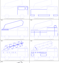 step by step drawing tutorial on how to draw firetruck for kids [ 751 x 1376 Pixel ]