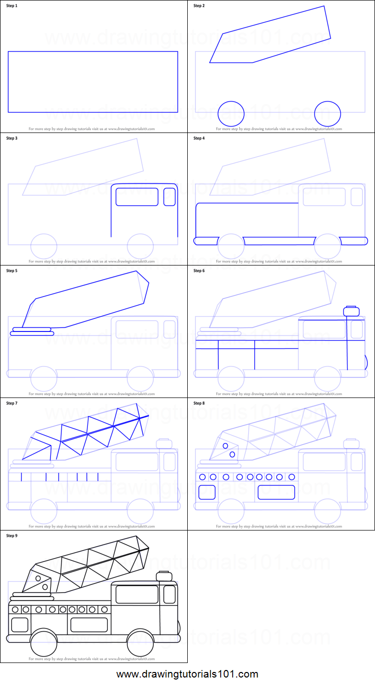 medium resolution of step by step drawing tutorial on how to draw firetruck for kids