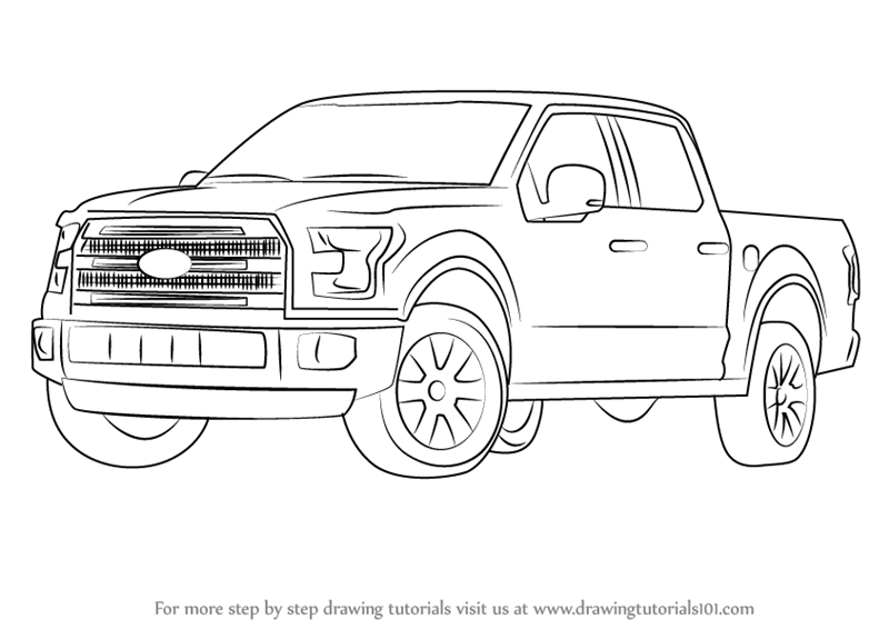Learn How to Draw Ford F-150 Truck (Trucks) Step by Step