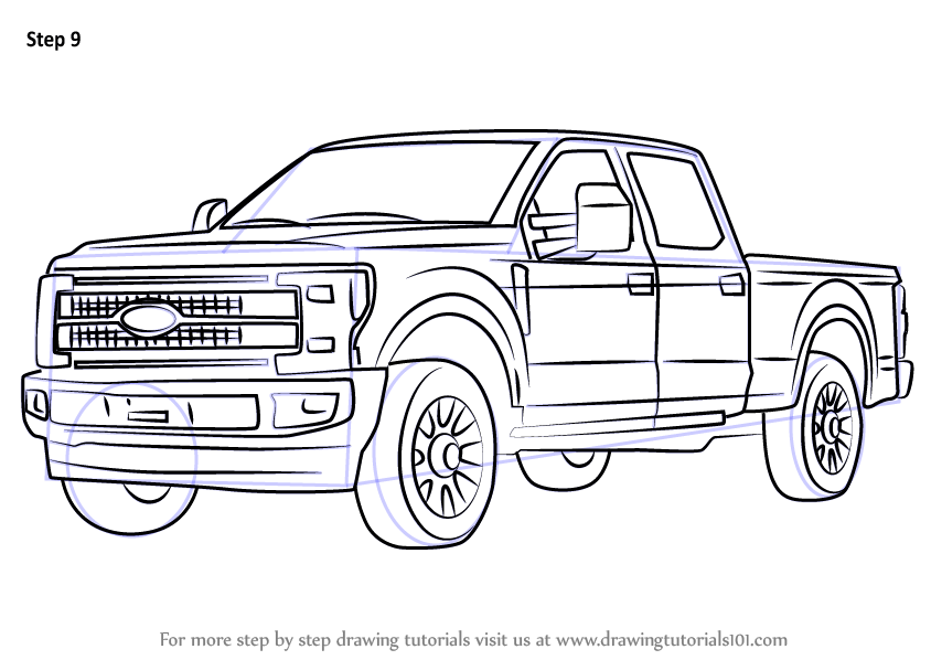 Learn How to Draw Ford F350 (Trucks) Step by Step