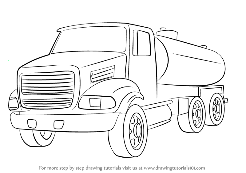 Learn How to Draw a Gasoline Truck (Trucks) Step by Step