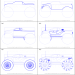How To Draw A Monster Truck Printable Step By Step Drawing Sheet Drawingtutorials101 Com
