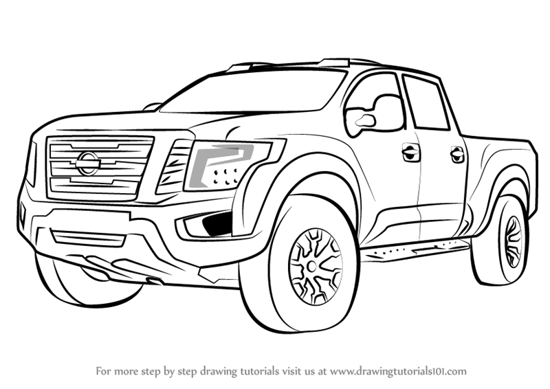 Step by Step How to Draw Nissan Titan Warrior Truck
