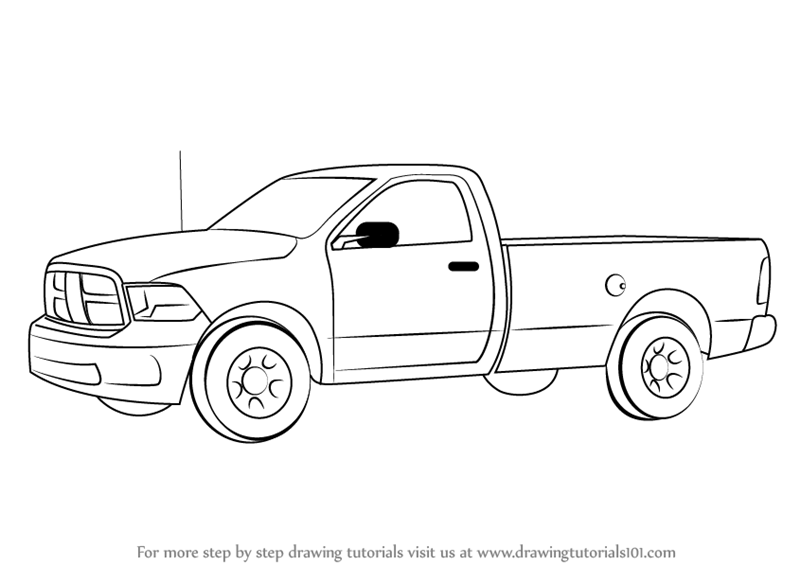 Learn How to Draw a Pickup Truck (Trucks) Step by Step