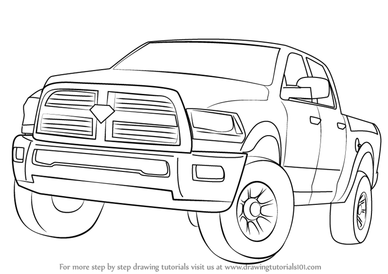 Learn How to Draw a Ram Truck (Trucks) Step by Step