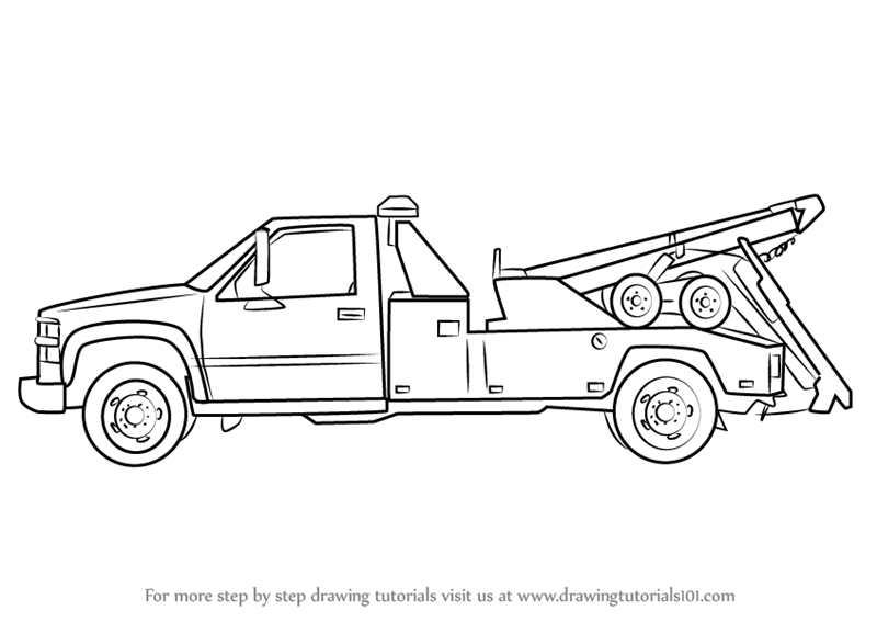 Learn How to Draw a Tow Truck (Trucks) Step by Step