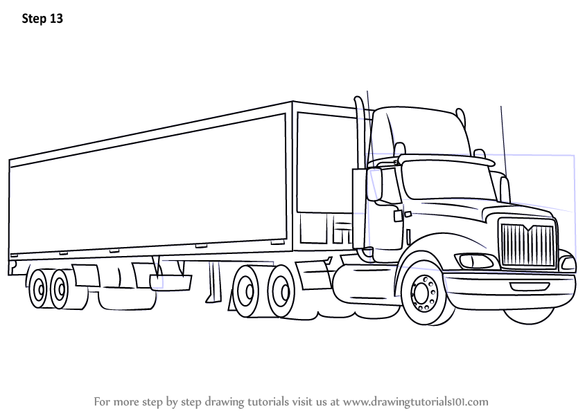 Learn How to Draw a Truck and Trailer (Trucks) Step by