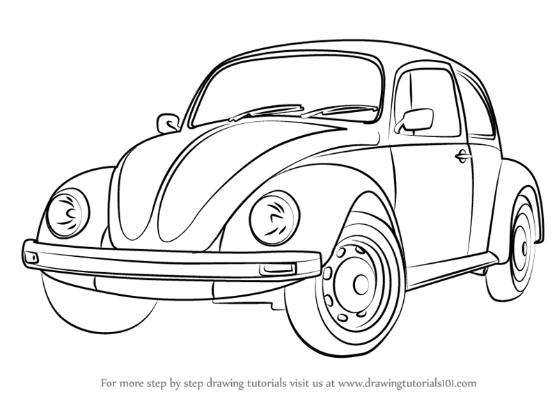 Learn How to Draw Vintage Volkswagen Beetle (Vintage) Step