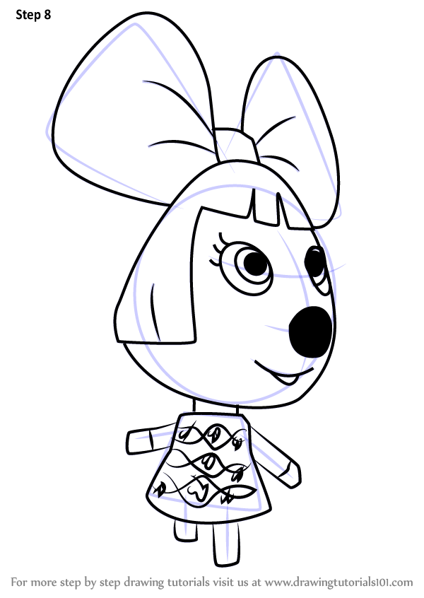 Step by Step How to Draw Penelope from Animal Crossing