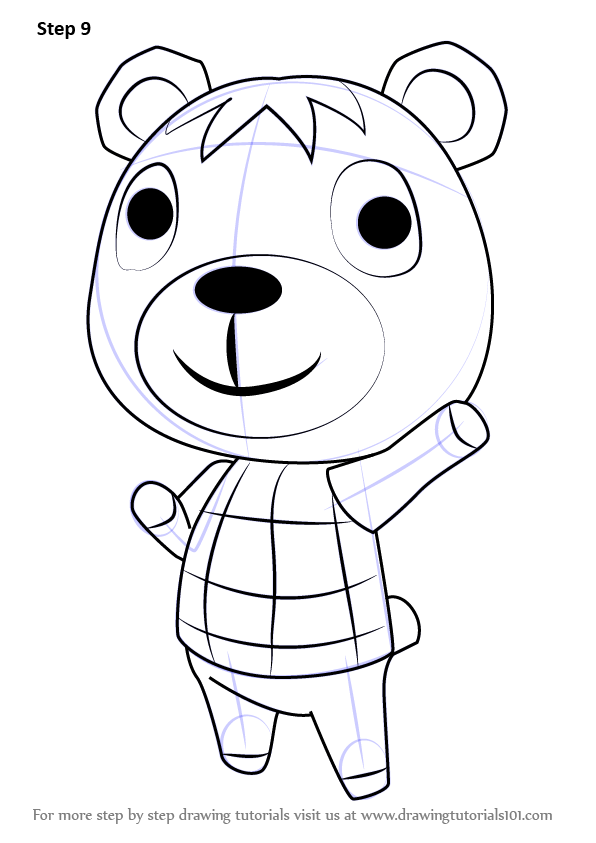 Step by Step How to Draw Poncho from Animal Crossing