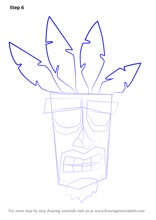 Learn How To Draw Aku Aku From Crash Bandicoot Crash