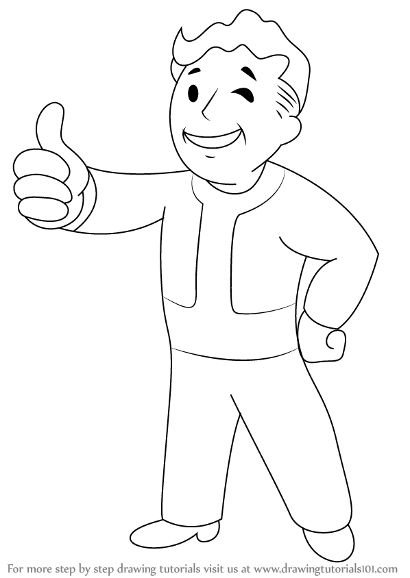 Learn How to Draw Vault Boy from Fallout (Fallout) Step by