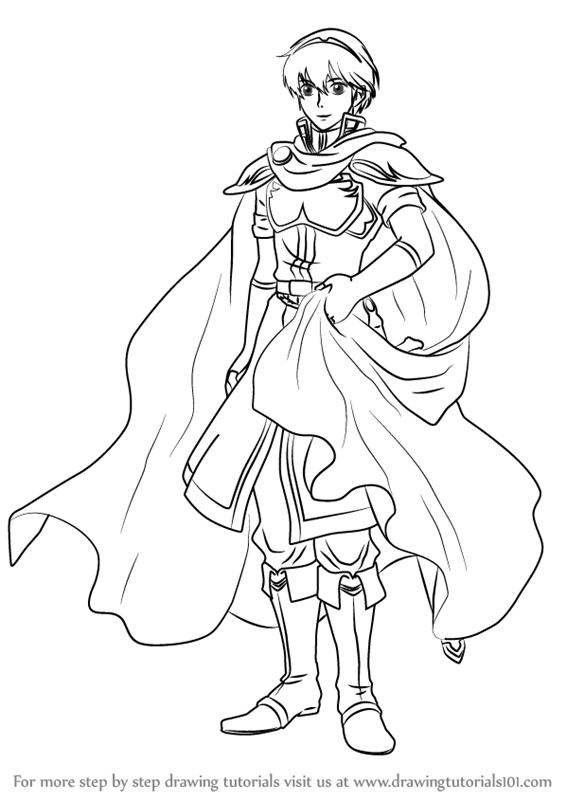 Step step how draw marth fire emblem, puppy coloring pages