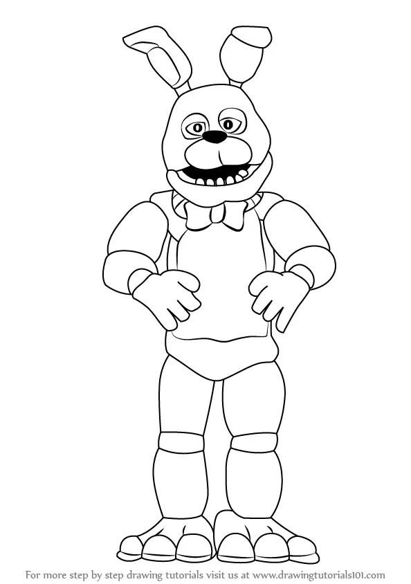 Step by Step How to Draw Bonnie : DrawingTutorials101.com