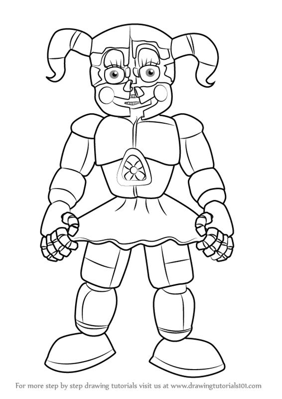 learn how to draw circus baby from five nights at freddy's