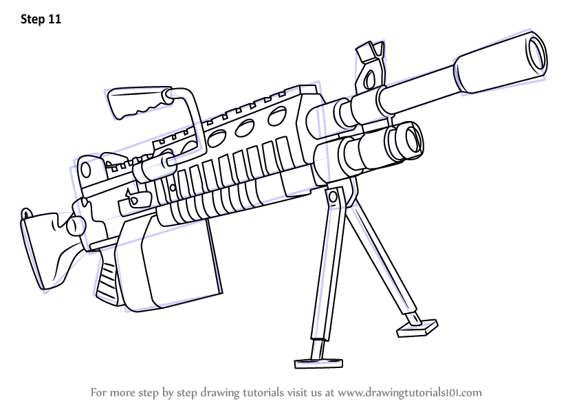 Learn How to Draw Light Machine Gun from Fortnite