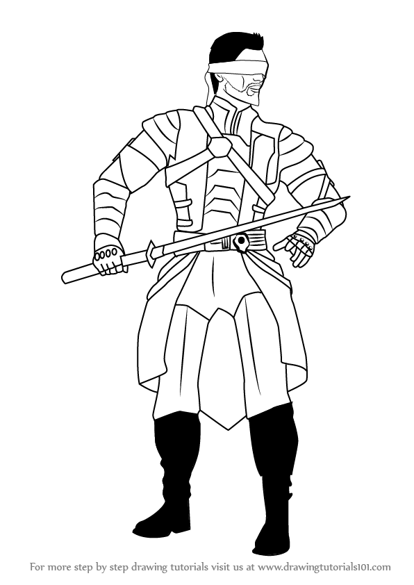 Learn How to Draw Kenshi from Mortal Kombat (Mortal Kombat