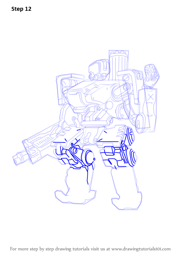 Learn How To Draw Bastion From Overwatch Overwatch Step